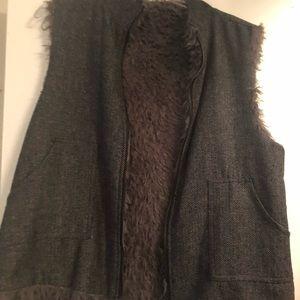 Grey Fur/Herringbone Reversible Vest